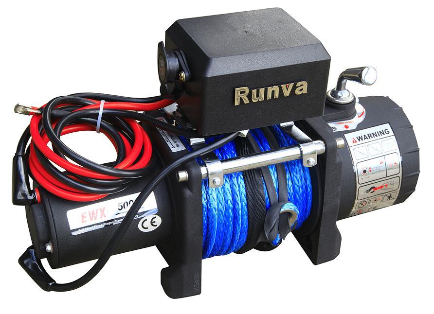 Лебёдка электрическая 12V Runva 5000 lbs 2268 кг (кевлар)
